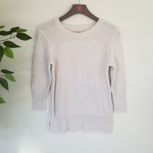 LOFT White 3/4 Sleeve Heavy Knit Sweater